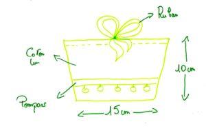 dessin pochette dimensin tissu lingette bambou