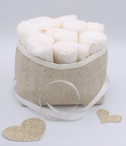 Corbeille en liège et tissu japonais